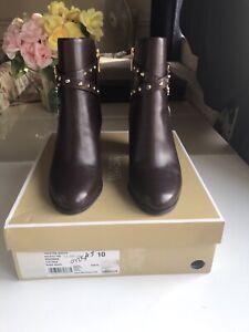 Michael Kors Preston Bootie Red/Dark Leather Size Uk 41 / US 10 RRR £250