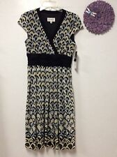 Ladies dress STUDIO I size 8 black gray yellow empire waist fully lined NWT 149