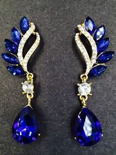 18K Gold Plated Sapphire Blue Crystal Rhinestone Dangle Fashion/Party.. Earrings