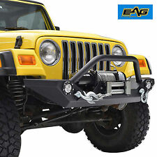 EAG Rock Crawler Front Bumper W/LED Light&Winch Plate for 97-06 Jeep Wrangler TJ