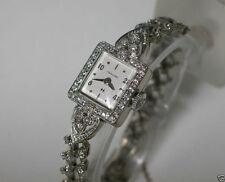 HAMILTON 64 diamond 14K gold watch tennis bracelet gold band 5x 22j Serviced