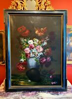 Early 20th Century Large Italian Still Life Painting by M. Calzolari