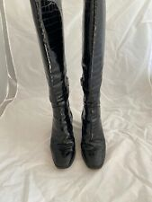 HOBBS Black Patent Shiny Mock Croc Leather Knee High Boots Size 4