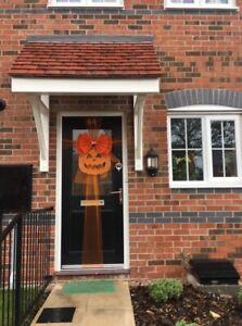 Halloween Door bow Pumpkin *  Orange Double Deluxe Glitter Door Bow