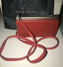 NWOT Wendy Stevens Gorgeous Red Metal Purse With Crossbody Leather Strap & Pouch