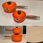 Set 2 LE CREUSET Flame Orange/Red Enamel Cast-Iron Saucepans Pots/Lids #14  #18