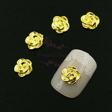 100 3D Gold Tone Camellia Rose Design Nail Art Charms Jewelry Making Accessories
