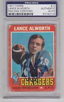 LANCE ALWORTH 1971 Topps Signed Football Card PSA/DNA Razorbacks Chargers