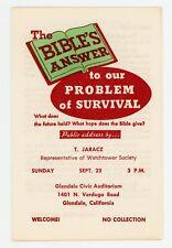 1962 Glendale California Circuit Program Bro Jaracz Watchtower Jehovah