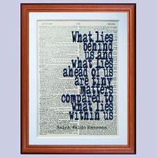 Ralph Waldo Emerson pagina di dizionario preventivo ART PRINT LETTURA LIBRO letterario