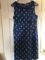 "Joules blue & white ""Francesca"" shift dress peter pan beaded collar - Size 12"