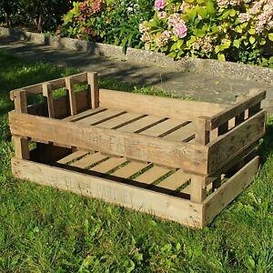 2x Vintage Wooden Farm Fruit Crate Rustic Old Bushel Box Shabby Chic Decorative