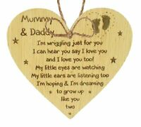 New Mum & Dad Gifts Oak Wooden Heart Baby Shower Gifts For Mum And Dad Baby Gift