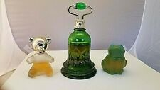 Lot of 3 Avon Sweet Honesty Cologne Bell Decanter, Teddy Bear and Frog Decanters
