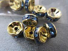Gold Tone w/ Blue Rhinestone Roundel 8mm Spacer Beads 20pcs