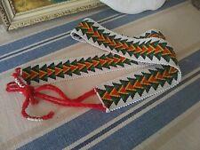 VTG Handmade Beaded Belt White Tribal Mexican Native American Sash Green Black