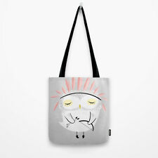 """Women's Tote Bag in Light Gray - """"Owlie"""" - 13"""" x 13"""" inch"""