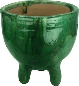 3 legged Moroccan green Garden pot-Authentic Tamegroute Bowl-Di31 H33 cm-Heavy