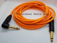 Van Damme Cable Guitar Lead Neutrik Straight to Right Angle Jack Plugs Orange