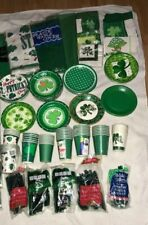Vtg St Patrick'S Day Party Creations Plates Cups Napkins Cutlery Table Cover Lot