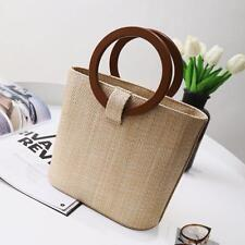 Women Straw Knit Bucket Bag Wood Round Handle Basket Purse Tote Shoulder Handbag