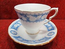 ROYAL VALE Blue with White Flora CUP AND SAUCER Pattern 8681 FREE UK POSTAGE