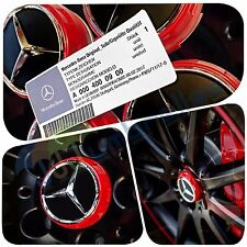 X 4 MERCEDES AMG RED WHEEL CENTRE CAPS 75MM FITS A B C E M A45 CLASS C63 C43 E63