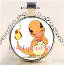 Pokemon Charmander Cabochon Glass Tibet Silver Chain Pendant Necklace