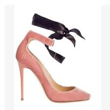 Womens Suede Pink Stiletto Lace Up Pointed Toe Wedding Party Ladies Shoes Size