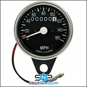 Universal Motorcycle Motorbike Classic Style Chrome/Black Cable Speedo MPH