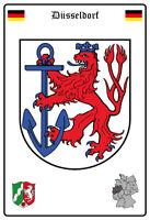 Düsseldorf Deutschland Wappen Blechschild Schild gewölbt Tin Sign 20 x 30 cm