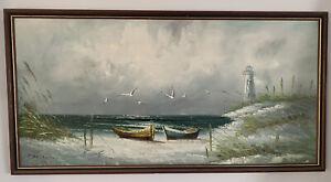 Framed Australian Lighthouse Scenic Oil Painting