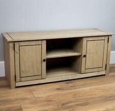 Panama 2 Door 1 Shelf TV Unit Mexican Solid Pine Wood Waxed Rustic Oak Finish