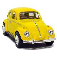 "New 5"" Kinsmart 1967 Volkswagen Classical Beetle Diecast Toy Car 1:32 Yellow"