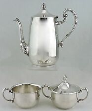 VINTAGE SILVER PLATE TEA/COFFEE/CHOCOLATE SET OF 3,POT,SUGAR BOWL,CREAMER