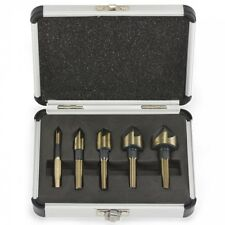 5PC COUNTERSINK TOOL BIT SET COUNTER SINK FOR STEEL METAL WOOD PLASTIC ALUMINUM