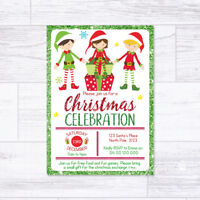 CHRISTMAS INVITATIONS PERSONALISED ELVES ELF PARTY INVITES CELEBRATION XMAS