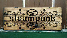 Steampunk Empire, Wood Sign Picture Mad Max Alchemy Gothic Fairy Engine Rustic