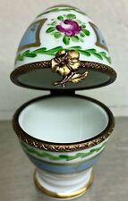 LIMOGES Marque Deposee Peint Main Signed PV Parry Vieille Floral Egg Trinket Box