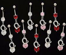 Elegant 14g Wholesale Gem Fancy Navel 878 6x Cz Dangle Belly Button Rings Hearts