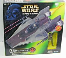 STAR WARS THE POWER OF THE FORCE A-WING FIGHTER WITH PILOT 1997 Kenner ~ MIB