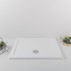 Piatto Doccia Acrilico 80x80 Slim Quadrato Moderno Colore Bianco Spessore 4 cm