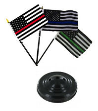 "USA Red Blue Green Thin Line American Flag 4""x6"" Desk Set Table Stick Black Base"
