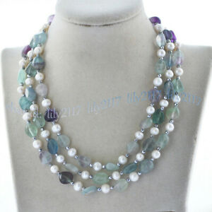Natural Multi-Color Fluorite Irregular Freeform Gems 7-8mm White Pearl Necklace