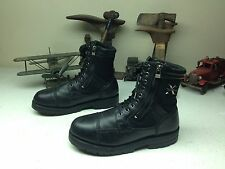 DISTRESSED X ELEMENT DUAL ZIPPER BLACK LEATHER MOTOCYCLE MILITARY BOOTS 10 D