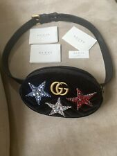 Gucci Marmont Stars Small Velvet Belt Bag Size 75 NWOT Black Guranteed Authentic