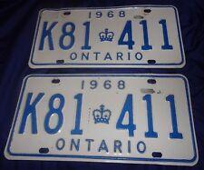 BR2011 Vtg 1968 ON Ontario License Plate Tag Pair Set Not MTO YOM Valid #K81 411