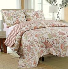 JACOBEAN FLOWERS 2pc Twin QUILT SET : COTTON RED GREEN IVORY PARADISE COTTAGE