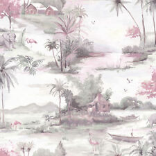 Elephant Flower Tropical Flamingo Bird Wallpaper Manyara Dusky Pink Grey Holden