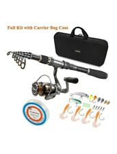 Plusinno Carbon Fiber Telescopic 5.91' Fishing Rod and Reel Combo